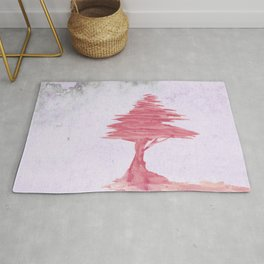 Red Tree watercolor on old paper Rug
