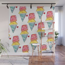 Love You More Than Ice Cream Pattern Food Illustration Love Painting Wall Mural