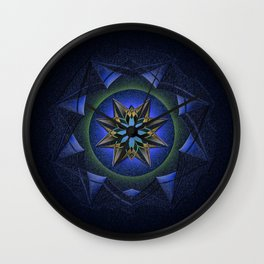 Ninefold Star Medallion Mandala Wall Clock