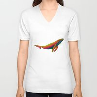 the whale V-neck T-shirts featuring Whale by Luna Portnoi