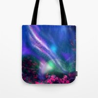 milky way Tote Bags featuring Milky Way by Ljartdesigns