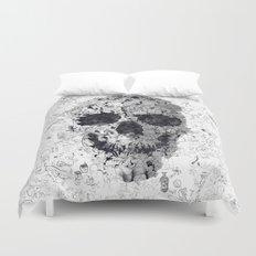 Doodle Skull BW Duvet Cover