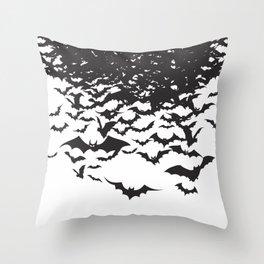 Halloween Bat Black and White Pattern Throw Pillow