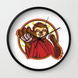 Sloth Fighter Self Defense Circle Mascot Wall Clock