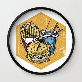 Geometric Art • Cartoon Cheeseburger and Fries Wall Clock