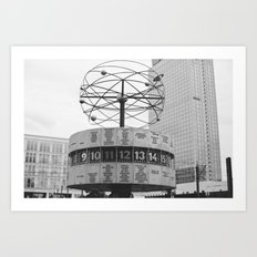 World clock Black and White Art Print
