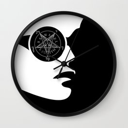 Girl with wiccan symbol- sigil of baphomet Wall Clock