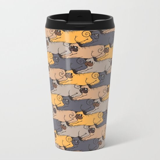 Pugs Tessellations Metal Travel Mug