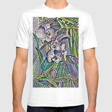 Engraved Orchids MEDIUM Mens Fitted Tee White