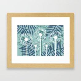 Dandelions palm Leaves blue light #leaves #society6 Framed Art Print