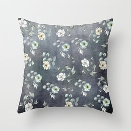 White Flowers and Grey Leaves Throw Pillow