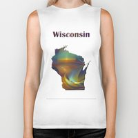 wisconsin Biker Tanks featuring Wisconsin Map by Roger Wedegis