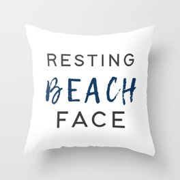 Resting Beach Face Throw Pillow