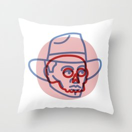 Cowboy Skull - Tattoo Style - Southwest Inspired Pop Art by CJ Hughes Throw Pillow