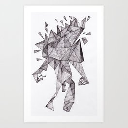 Robot trapped in triangles Art Print