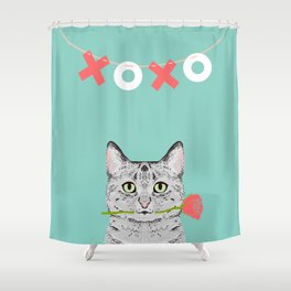 Valentines Cat greeting card cell phone with cat love cat lady gifts egyptian mau cat owners Shower Curtain