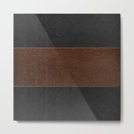 Brown & Black Stitched Leather Metal Print