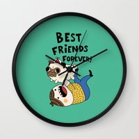 pug Wall Clocks featuring PUG by Jarvis Glasses