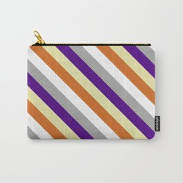 Colorful Dark Gray, Indigo, Pale Goldenrod, Chocolate & White Colored Pattern of Stripes Carry-All Pouch