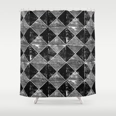Chequers I Black Shower Curtain