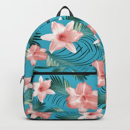Tropical Flowers Palm Leaves Finesse #8 #tropical #decor #art #society6 Backpack