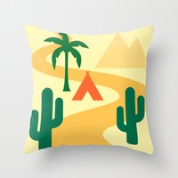 camping Throw Pillows featuring Camping by Mr and Mrs Quirynen