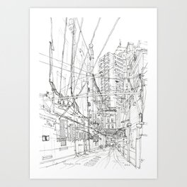 Shanghai. China. Yard full of wires Art Print