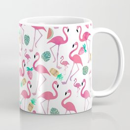 Tropical pink watercolor flamingo sweet summer fruit pattern Coffee Mug