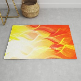 Theme of fire for the banner. Bright red and orange glare on a gentle background for a fabric or pos Rug