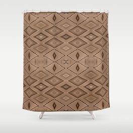 Abstract Pattern inspired by Navajo Weaving in Earthtones Shower Curtain