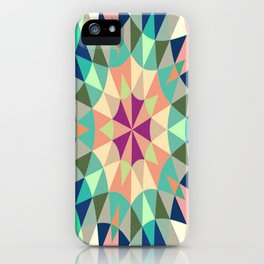 Retro Geometry Mandala Deep Pastels iPhone Case
