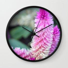 Purple Flamingo Feather Flower Wall Clock