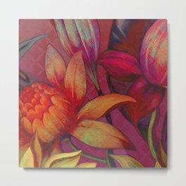 """Retro Giant Floral Pattern"" Metal Print"