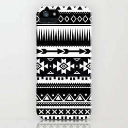 Aztec Pattern Black and White iPhone Case