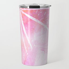 Abstract Pink Palm Tree Leaves Design Travel Mug