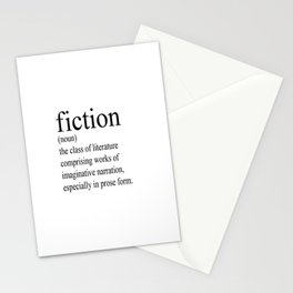 Fiction Definition (Black on White) Stationery Cards