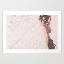 Reclining Lace Nude Art Print