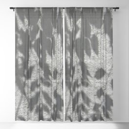 Grey shadows of green leaves Sheer Curtain