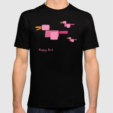 Happy Bird-Pink MEDIUM Mens Fitted Tee Black