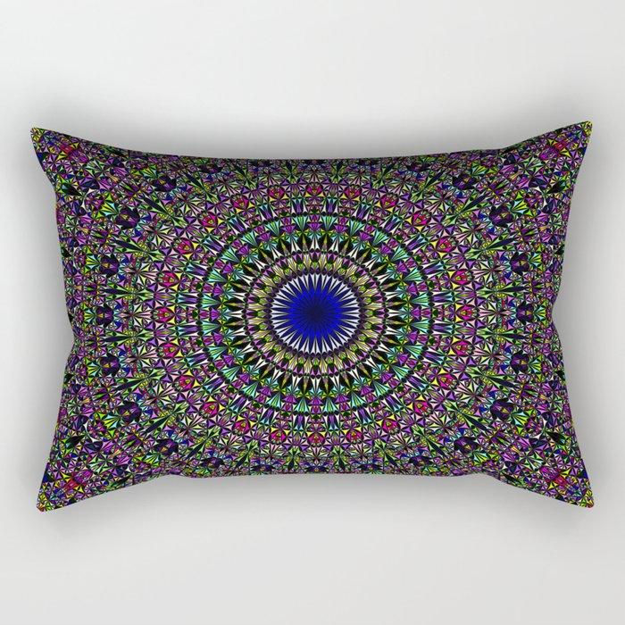 Colorful Sacred Kaleidoscope Mandala Rectangular Pillow