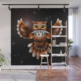 Surreal Owl Metallic Flying on the Night 3d Wall Mural