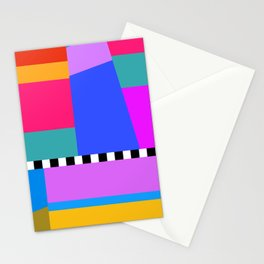 Modern Color Block// Red Blue Pink Green Stationery Cards