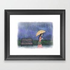 Girl in the Rain Framed Art Print