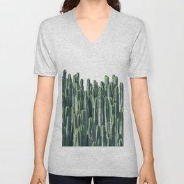 Teal Cactus Desert Unisex V-Neck