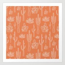 Terracotta cactus pattern Art Print
