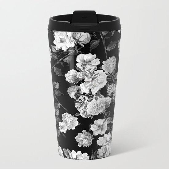 Black and White Botanic Pattern Metal Travel Mug