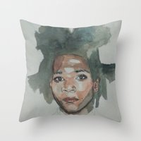 basquiat Throw Pillows featuring Basquiat by Danielle Lima