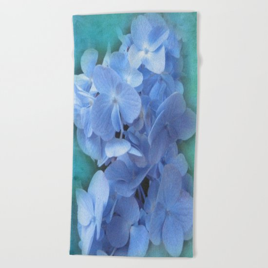 Blue Hydrangea on Green Beach Towel