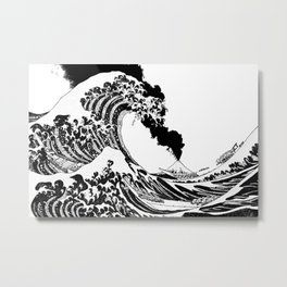 Great Wave Black and White Eruption Metal Print