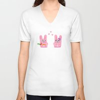 bunnies V-neck T-shirts featuring Oh, bunnies!.. by Trapezoid